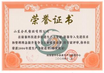 省级生产力促进奖荣誉证书2006.12